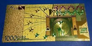GOLD GREEN 1000 EURO BANK NOTE COLLECTABLE SOUVENIR ISSUE 1,000 EYPO EUROPE EU