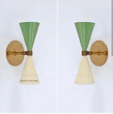 1950 BRASS GREEN COLOR DIABOLO SHADE SCONE WALL LIGHT CHANDELIER MODERN STILNOVO