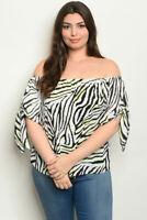 Womens Plus Size Black Cold Shoulder Tunic Top 1X Animal Print Tie Accent