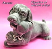 Dachshund puppy figurine Dog marble chips Souvenirs from Russia miniature