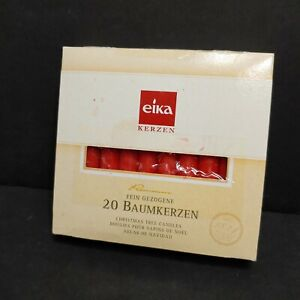 Eika Red Christmas Tree Candles 4 Inch Made in Germany Set 20 Pyramid Windmill