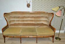 ausgefallenes Chippendale Stil 70er 3Sitzer Sofa Couch Wiener Geflecht beige