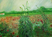 Poppys in un campo di grano originale olio su tela dopo van Gogh dimensioni 46 x 36 cm