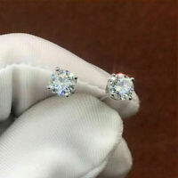 14K White Gold Finish 2Ct Round Cut Moissanite Push Back Solitaire Stud Earrings