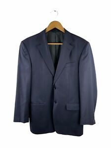 Boston Button Up Blazer Jacket Mens Size 96NR Blue Lined Collared 100% Wool