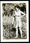 "HAWAII Vintage Photo 2.5"" x 3.5"" ""TOPLESS ISLAND WOMAN In Field"""