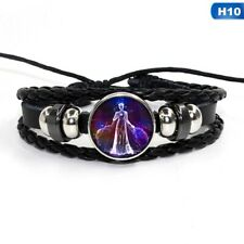Woven Leather Bracelet Jewelry Virgo 12 Zodiac Signs Constellations Glass Button