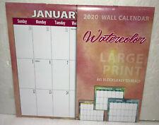 "2020 Wall Calendar Large Print Watercolor 11""x12"" New Sealed"