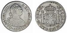 2 SILVER REALES/PLATA. CHARLES IV-CARLOS IV. LIMA 1801. VF+/MBC+. INTERESANTE.