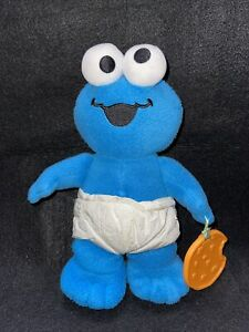 """My First Pal COOKIE MONSTER Plush Baby Diaper Teether Fisher Price Toy Blue 11"""""""