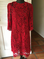 Dolce & Gabbana Red Floral Sicily Lace Dress  Size: IT:40/ US:6  Org:3,145.00