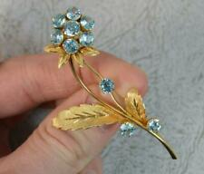 Awesome Retro 14 Carat Gold and Blue Zircon Flower Spray Brooch f1123