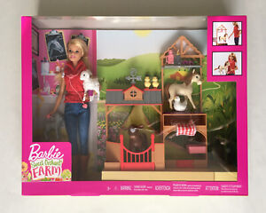 Barbie Sweet Orchard Farm Doll with Playset and 7 animals GCK86 NEW Horse VET UK