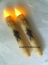 2 Petite Grungy Waxed VOTIVE Candles ~ Burnt Mustard Cinnamon