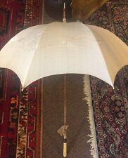 Antique Victorian Parasol Sun Umbrella Carved Orpheus Handle, Silk w/ Dragon