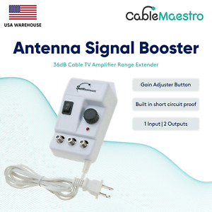 Antenna Signal Booster 36dB Cable TV Amplifier HDTV AMP Range Extender Channel