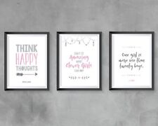 Peter Pan prints - set of 3 home decor little girls bedroom nursery pink & grey
