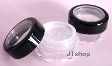 5 x 5ml THICK WALL Empty Small Plastic SIFTER JAR Black Rim Makeup/Craft/Travel