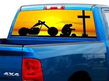 P520 Cowboy Praying Rear Window Tint Graphic Decal Wrap Back Truck Tailgate