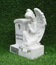 MEMORIAL ANGEL PRAYING BY HEADSTONE DAD GRAVE OR CEMETERY ORNAMENT