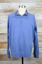 Brooks Brothers Country Club 1/4 Zip Sweater Sz L Large Blue Cotton #313