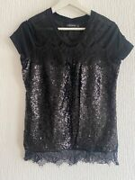 BLACK SEQUIN LACE TOP M or 14  SPARKLY CELEB GLAM PRETTY EVENING PARTY SUMMER