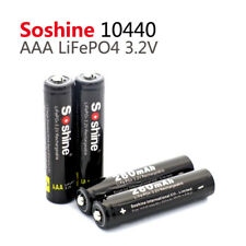 4 Pack Soshine LiFePO4 AAA 10440 280mAh 3.2V Rechargeable Battery + Cover Case