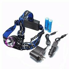 T6 LED Aluminum 1-Bulb 2000LM 3 Modes Waterproof Headlamp Purple & Black