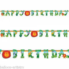 7.5ft Happy Birthday African Wild Animals Jungle Letter Banner Decoration