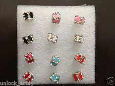 The Ring Swarovski Crystal bling Handmade Stud Earrings Mix Colors 6 Pairs A36