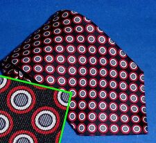 TURNBULL & ASSER BLACK GREY RED CIRCLE DOT PRINCE OF WALES SILK TIE HANDMADE