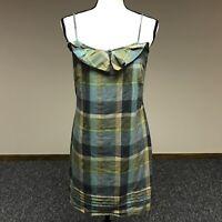 Ann Taylor LOFT Women's Size 4 Summer Dress 100% Cotton Plaid Ruffle Straps