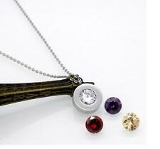 Silver Stainless Steel Round Interchangeable Zirconia Pendant Necklace Gift P42