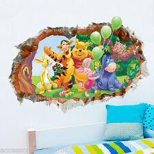 3D Winnie Pooh grieta Pared Calcomanía Pegatinas Arte Animal Vivero Habitación De Bebé