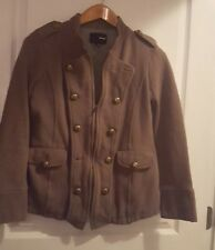 HURLEY Women's Small Khaki Double Breasted Zippered Military Style Jacket