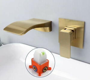 Luxury Brushed Golden Tap Wall Mounted Bathroom Basin Sink Faucet Solid Brass