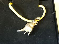 """Diplodocus Tg239 English Pewter On 18"""" Yellow Cord Necklace"""