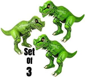 """(Set Of 3) 24"""" T - Rex's Dinosaur Inflatable  Inflate Blow  Toy Party Decoration"""