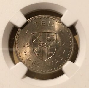 1967 GHANA 10 Pesewas NGC MS 64 - Copper-Nickel - Top Pop!!!
