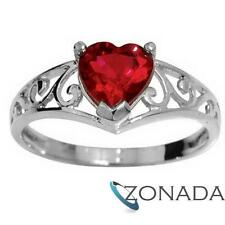 Ruby 9ct 9k Solid White Gold Ring Size P 7.75 W24407/cr