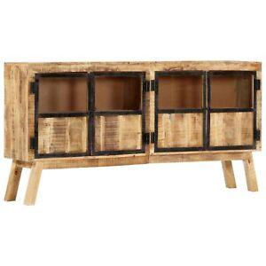 "vidaXL Sideboard Brown and Black 63""x11.8""x31.5"" Solid Rough Mango Wood"