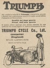 Y7875 Moto con Sidecar TRIUMPH - Pubblicità d'epoca - 1923 Old advertising