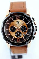 Herrenuhr Chronograph T5 Sports Time 46mm Datum Lederarmband mit Uhrenbox