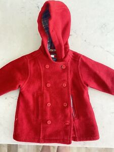 Vintage Tommy Hilfiger Red Wool Acrylic Poly Peacoat 12-18 Months Baby Girl