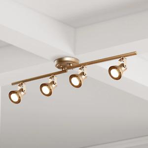 UOLFIN 2.4 ft. 4-Light Modern Gold LED Ceiling Fixed Track Lighting Kit