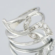 Ring Trendy Clear CZ White Gold Filled Womens Leaf Wedding Ring Size 6