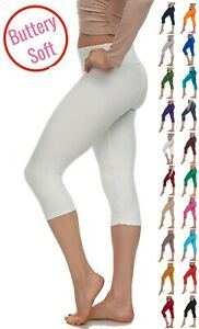 Extra Soft Capri Leggings with High Wast - 20 + Colors - One Size and Plus Size