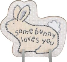 """NEW!~Easter """"Some Bunny Loves You"""" Stand Up Wood Sign~Plaque/Basket/Rabbit"""
