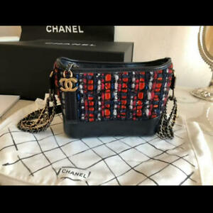 CHANEL Gabrielle de Chanel Small Hobo Bag Navy & Red 2019 New