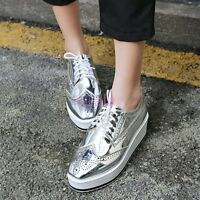 HOT Womens Wing Tip Brogue Shoes Lace-up Flats Casual Shoes Platform Silver 4-13